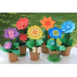 Bastelset Bunte Blumenwiese Für 6 Kartonblumen Mit Zusatzmaterial